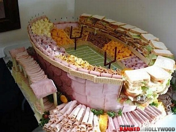 Superbowl cheese and meat stadium.