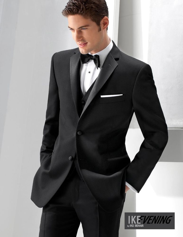 56S Joseph Abboud Black Striped Tuxedo Jacket Wedding Cheap Tux Blazer Prom Coat