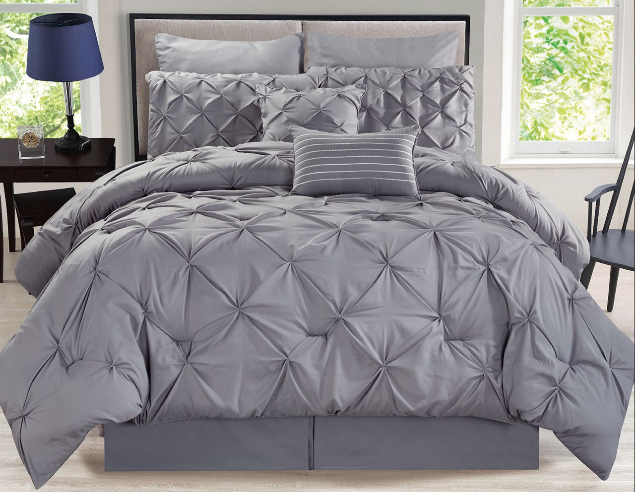 Best 8 Piece Rochelle Pinched Pleat Gray Comforter Set Grey 640 x 480