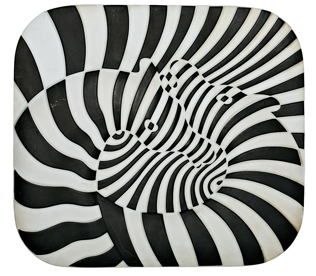"Victor Vasarely , ""Zebras"" , Plate in Rosenthal porcelain, 1977 