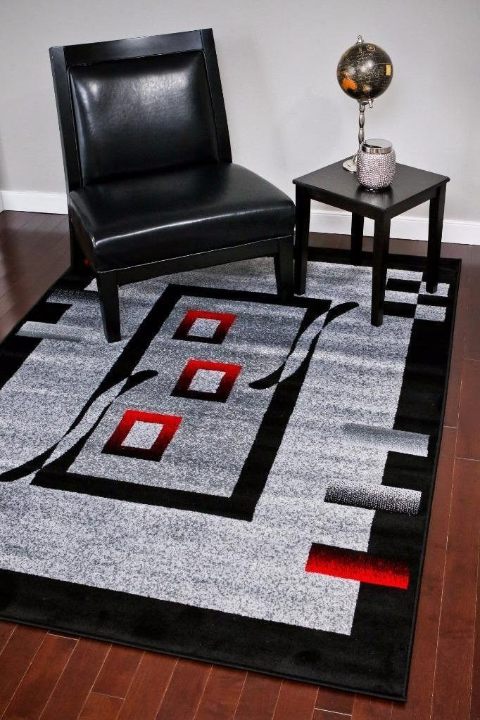 Gray Black Red Contemporary Large 5x8 Area Rugs 8x11 Bargain Area