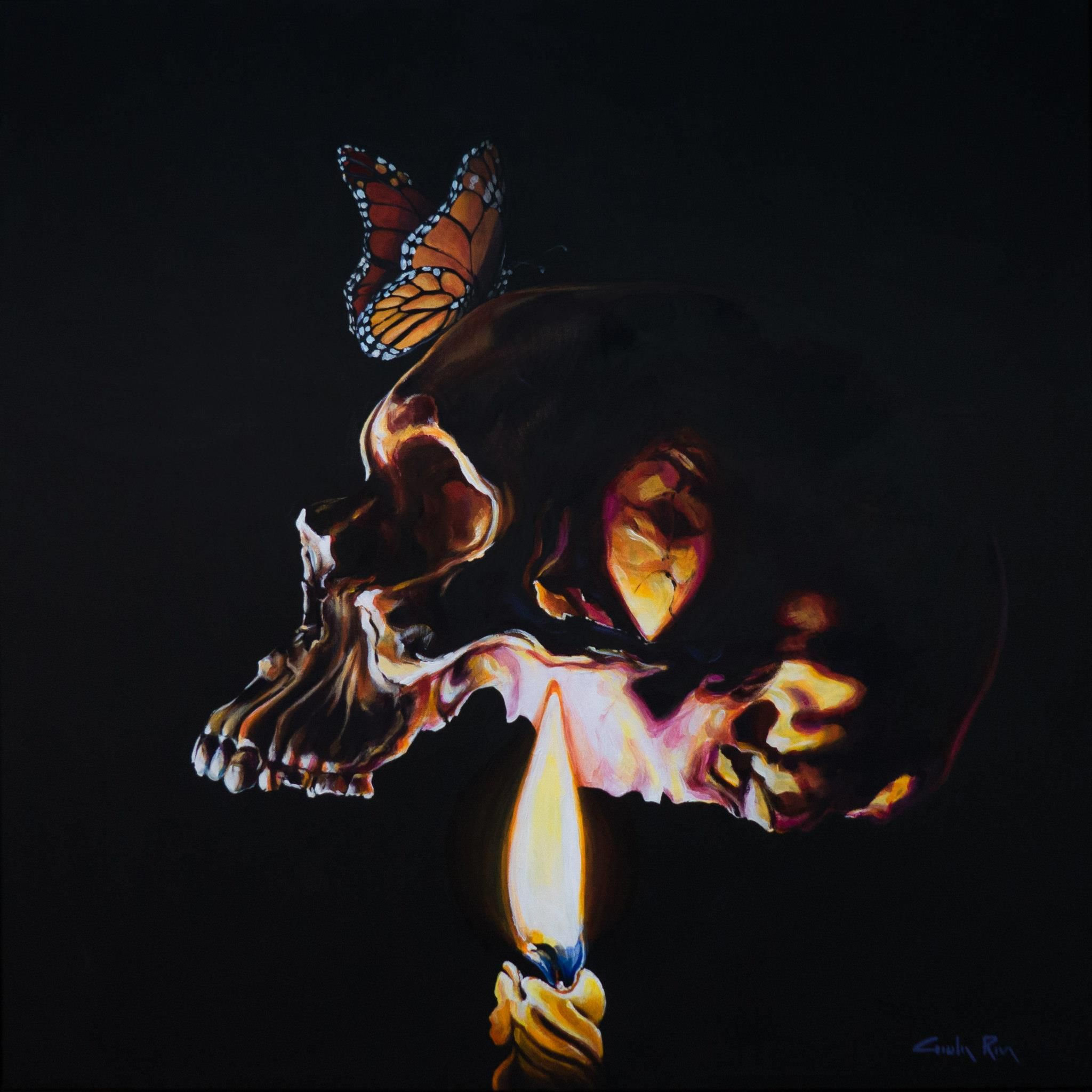 """Vite silenziose"" - ""Silent lives"" acrilico su tela 50x50 cm - acrilic on canvas 19x19"" #skull #stilllife #paint #acrilicpaint #paint #butterfly #candle #light #mistery #black"