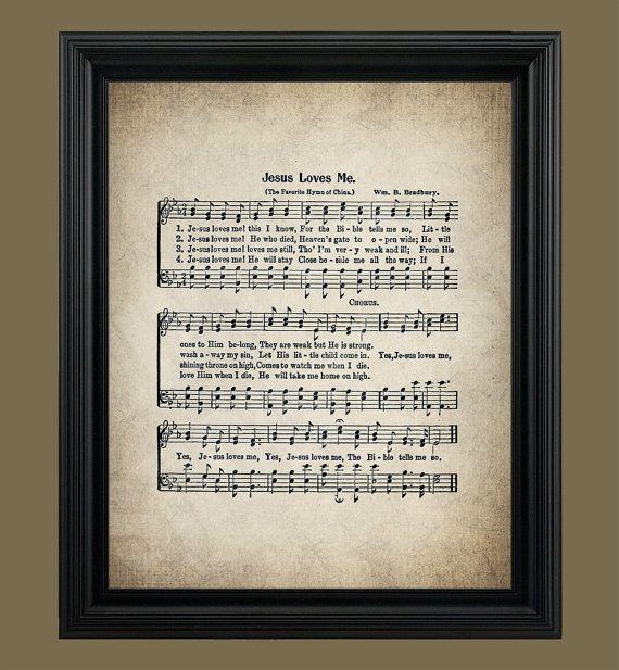 Jesus Loves Me Hymn Print Hymnal Sheet Sheet Music Home Decor