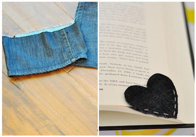 The Cheese Thief: Old Denim Corner Heart Bookmark