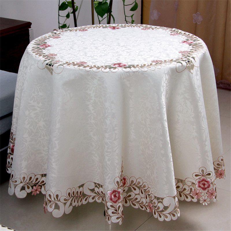 pastoral floral bordado satn jacquard mantel redondo elegante mano cutwork polister mesa redonda toalla cubierta de