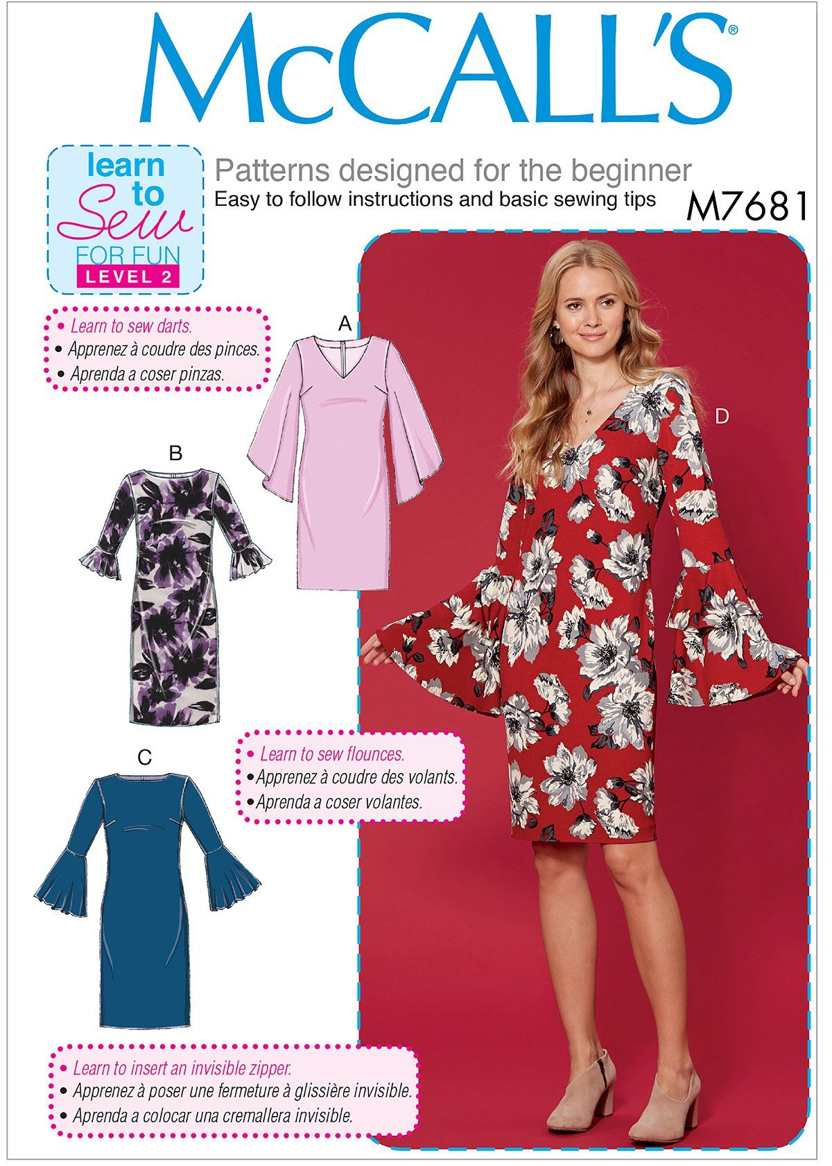 Mccall S 7681 Misses Dresses With Flounce Sleeve Variations