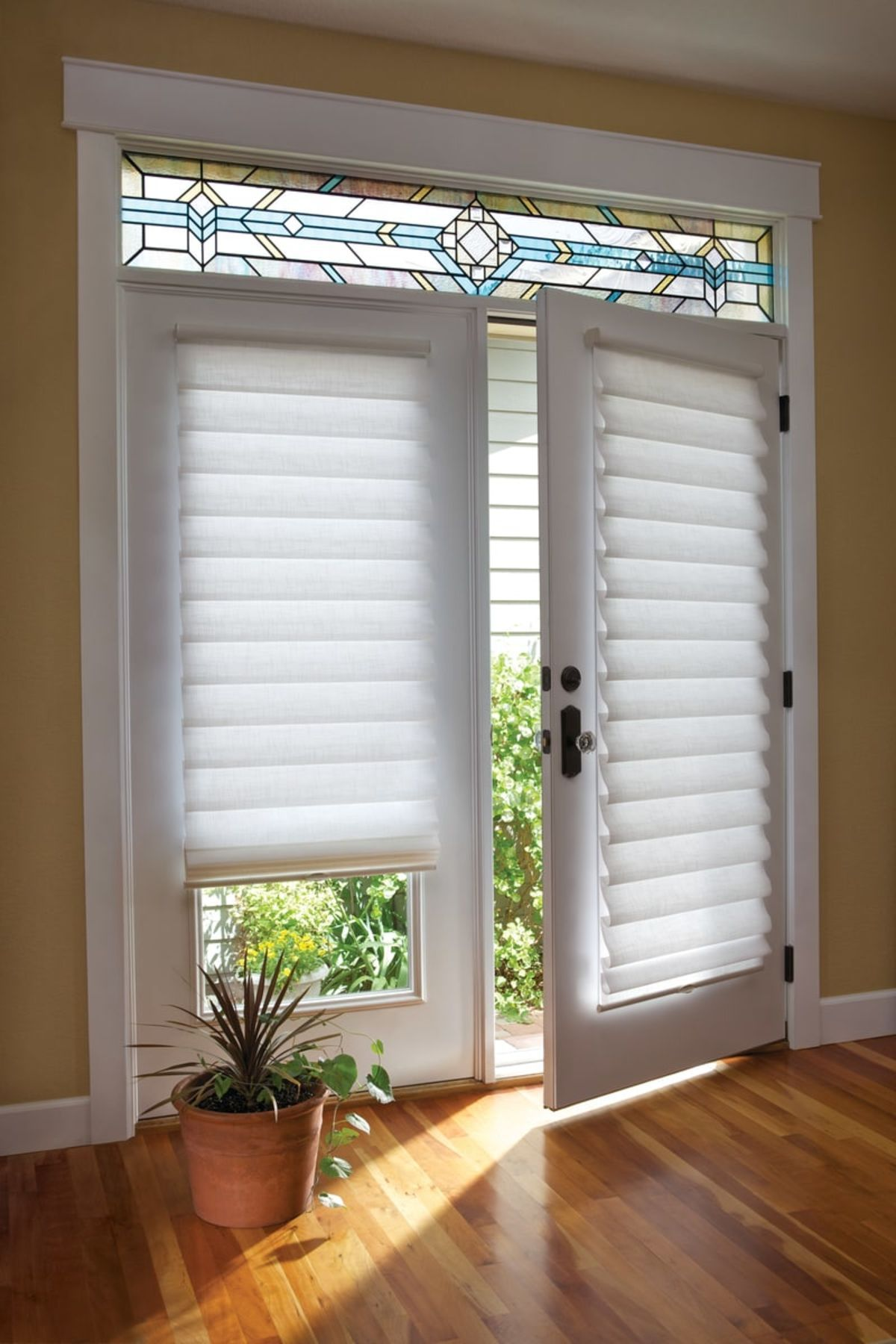 Vignette modern roman shades french doors pinterest hunter