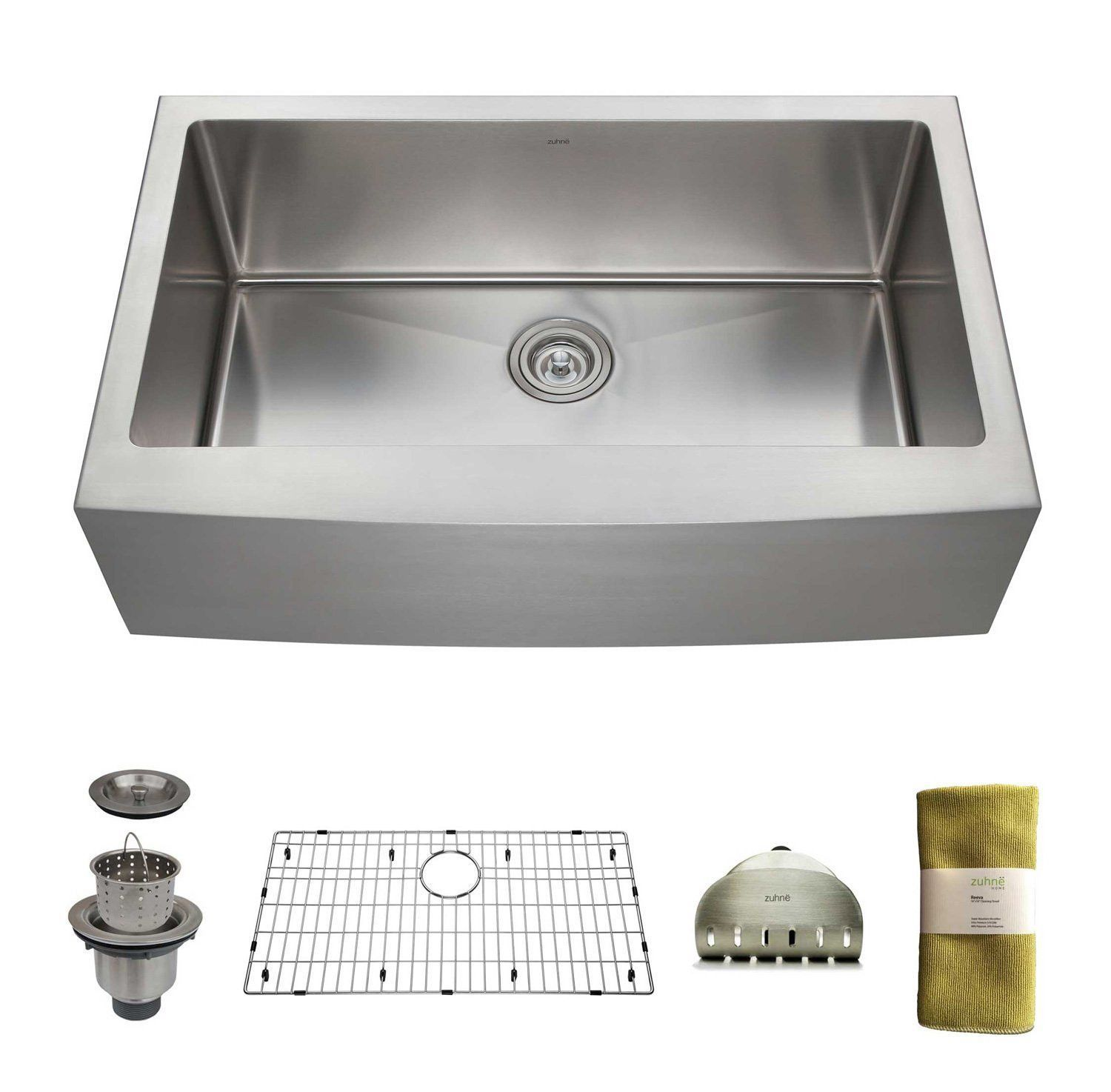 Zuhne 33 Inch Farmhouse Apron Deep Single Bowl 16 Gauge Stainless Steel Luxury Kitchen Sink Stainless Steel Kitchen Sink Stainless Kitchen
