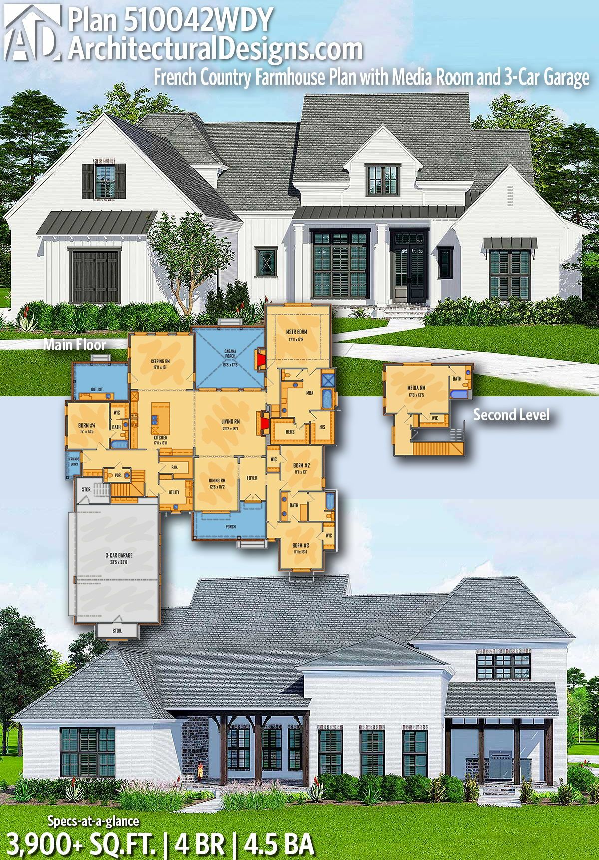 Plan 510042wdy French Country Farmhouse Plan With Media Room And 3 Car Garage Farmhouse Plans Modern House Plans Modern Farmhouse Plans