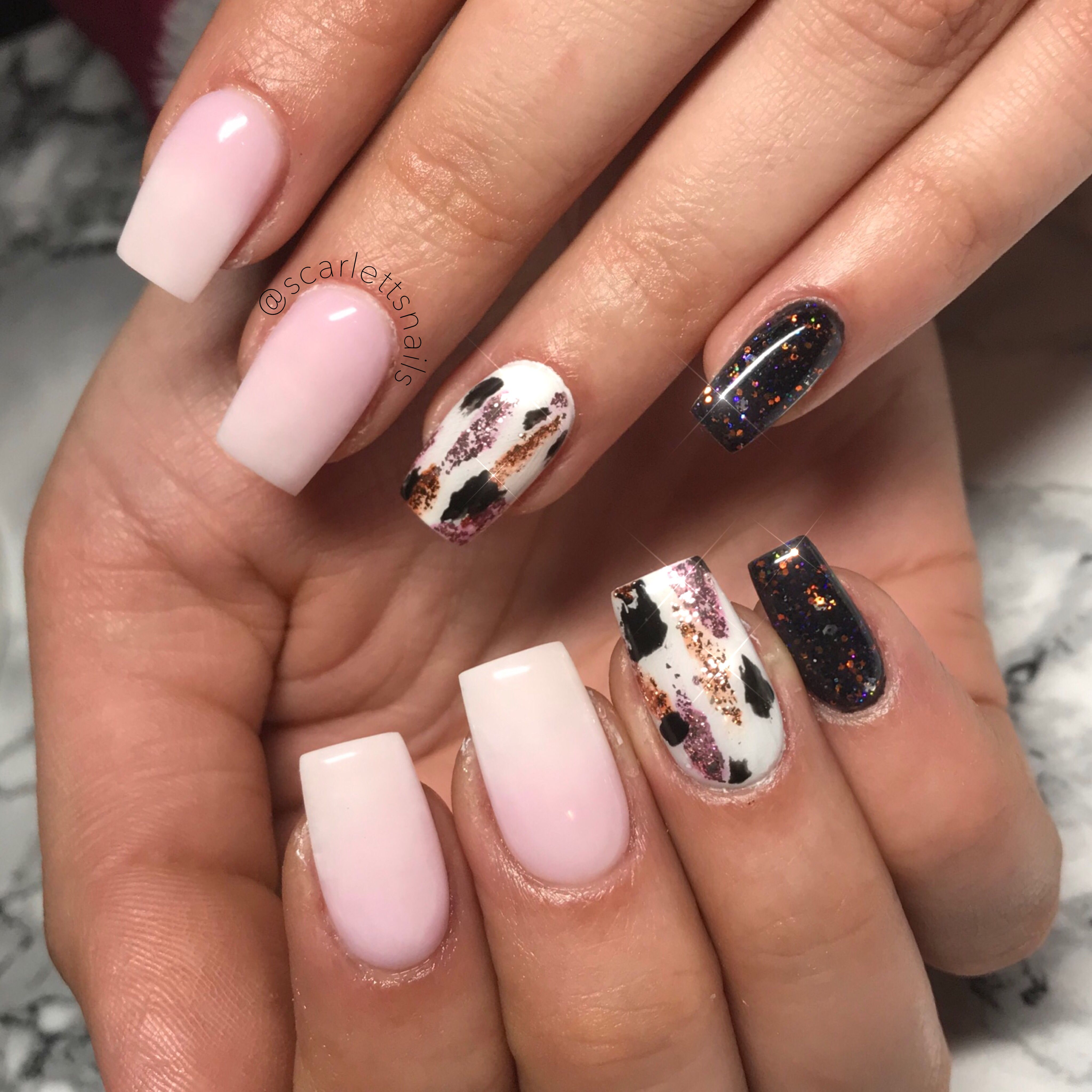 Scarlettsnails Baby Boomers French Ombre Black Magic Glitter