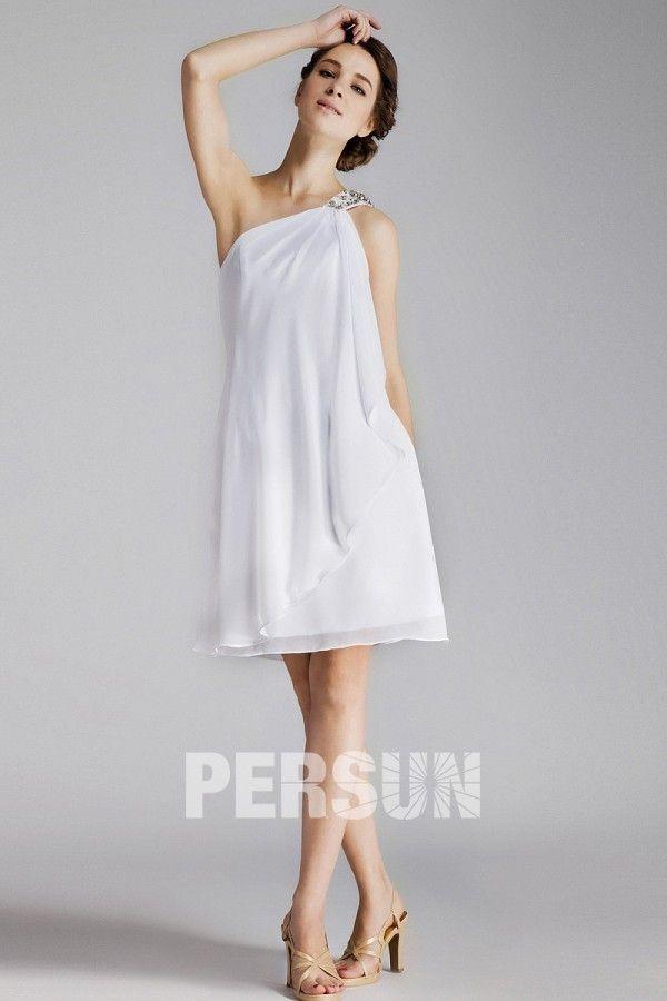 8aaef74c3  Vestido de  Cóctel  Fiesta de baile de  Gasa Blanco con Solo Hombro  Volante Abalorio Corte A - Persun.es