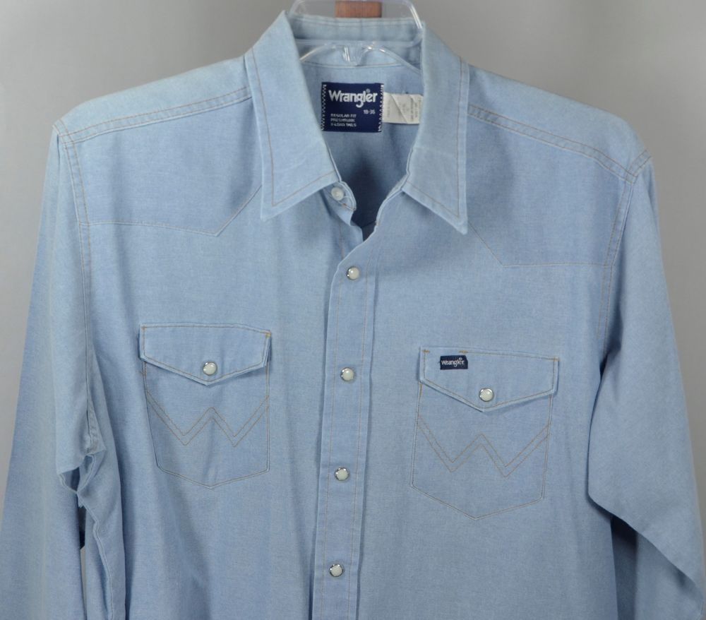 ac11a5c2 Vintage Wrangler USA Made Pearl Snap Denim Western Chore Barn Shirt 18 x 36  XL #Wrangler #Western