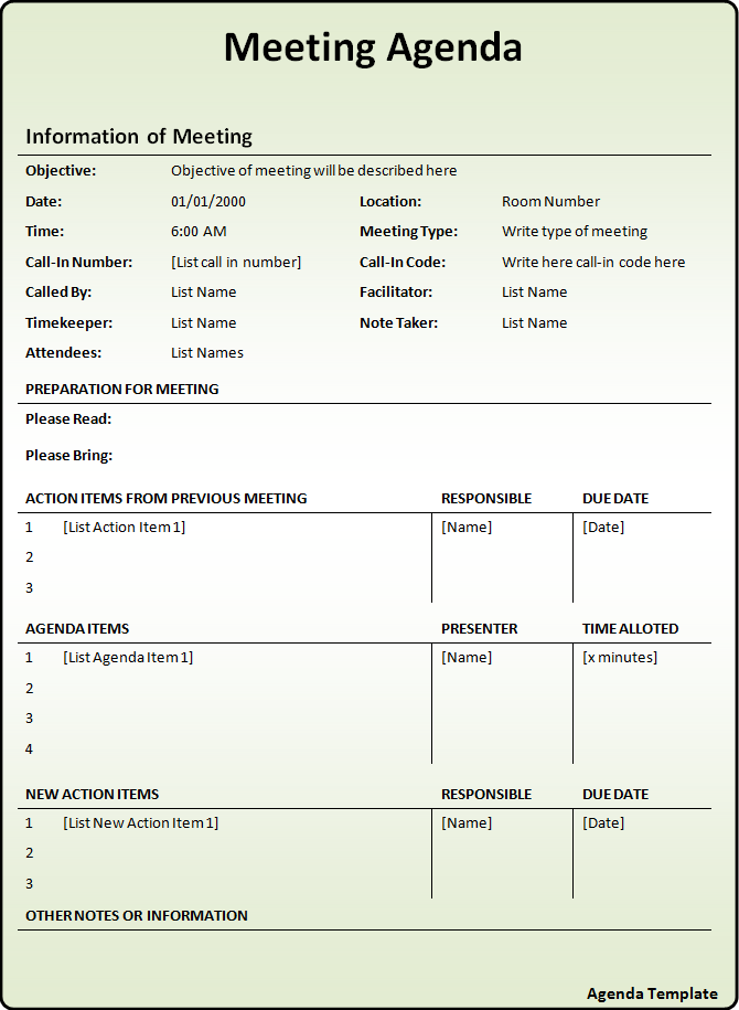 meeting agenda with action items template