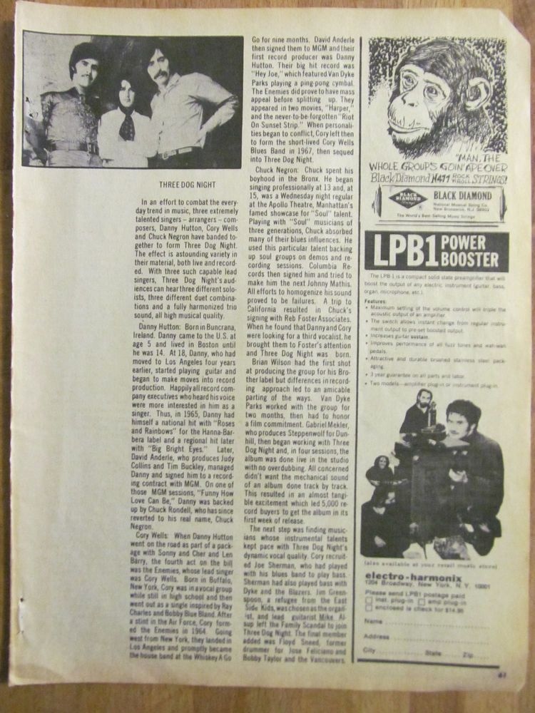 Three Dog Night, Full Page Vintage Clipping
