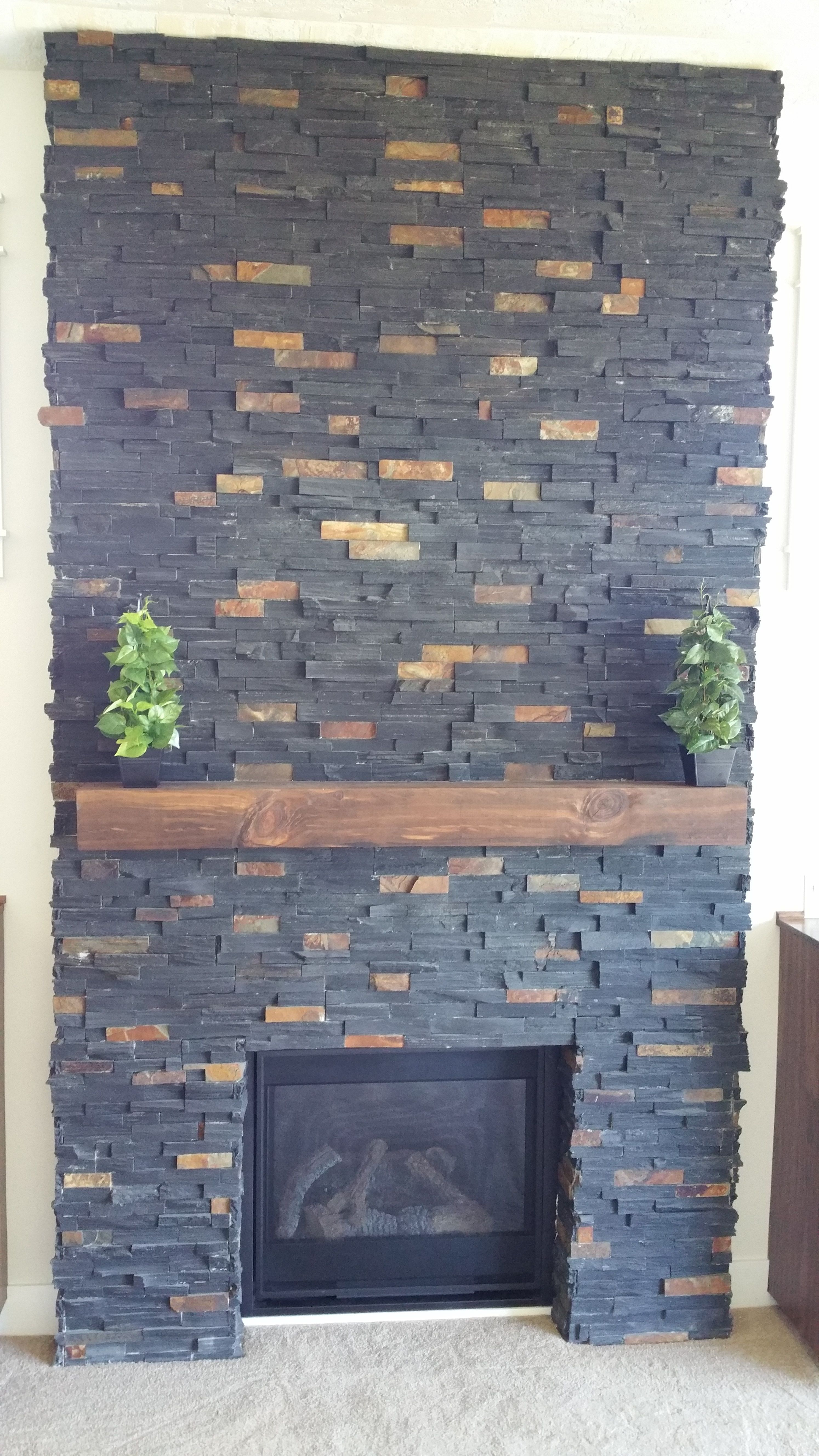Charcoal Rust Ledger Stone Accent Wall And Fireplace Surround Black With Tones Wood Hearth Tall Tiled Natural