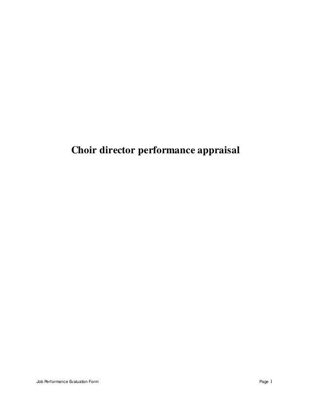Job Performance Evaluation Form Page  Choir Director Performance