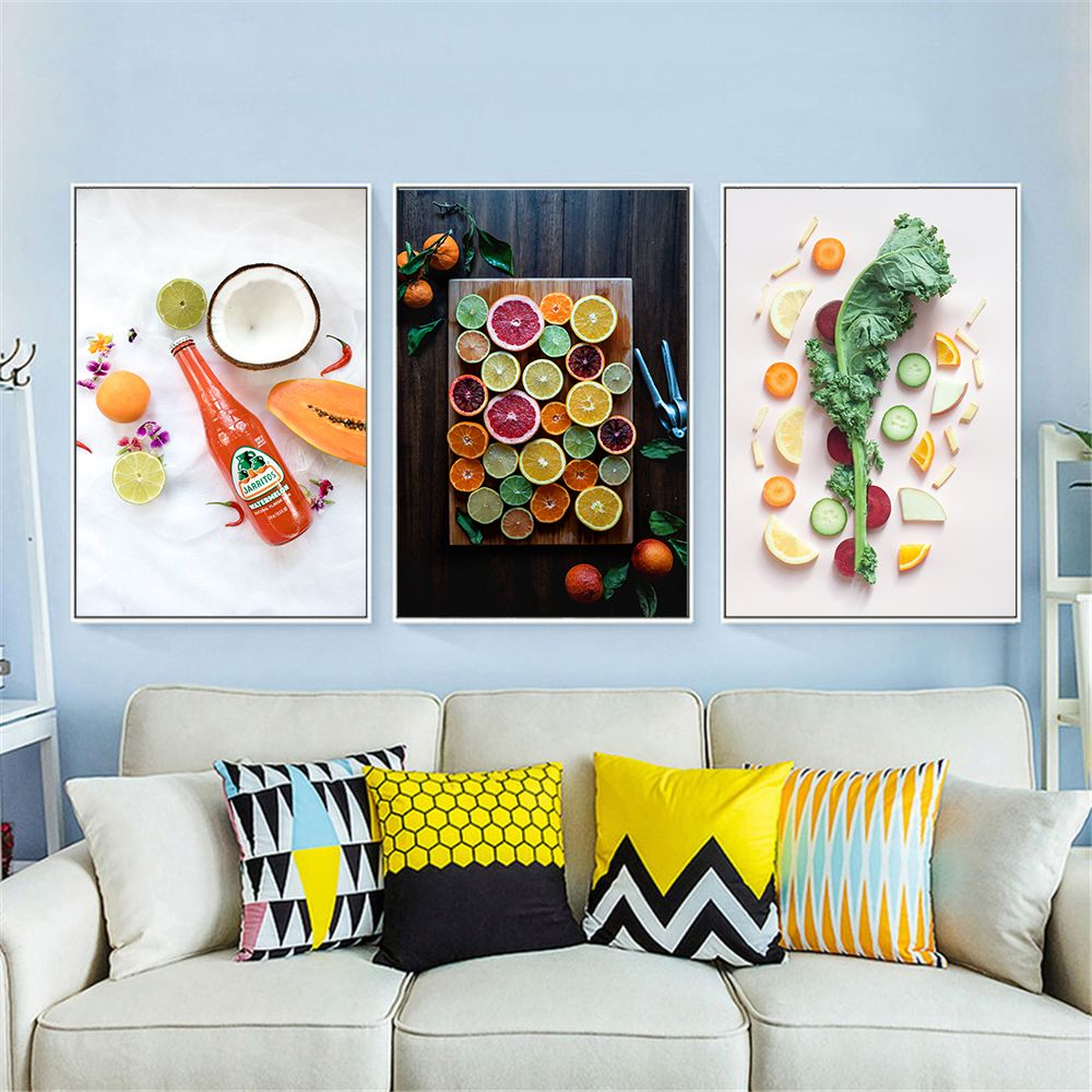 Modern Kitchen Decoration Picture Colorful Fruit Apple Banana Poster Hd Print Nordic Wall Art Canvas Painting Dining Room Decor In 2020 Dining Room Wall Art Decorating With Pictures Kitchen Decor Modern