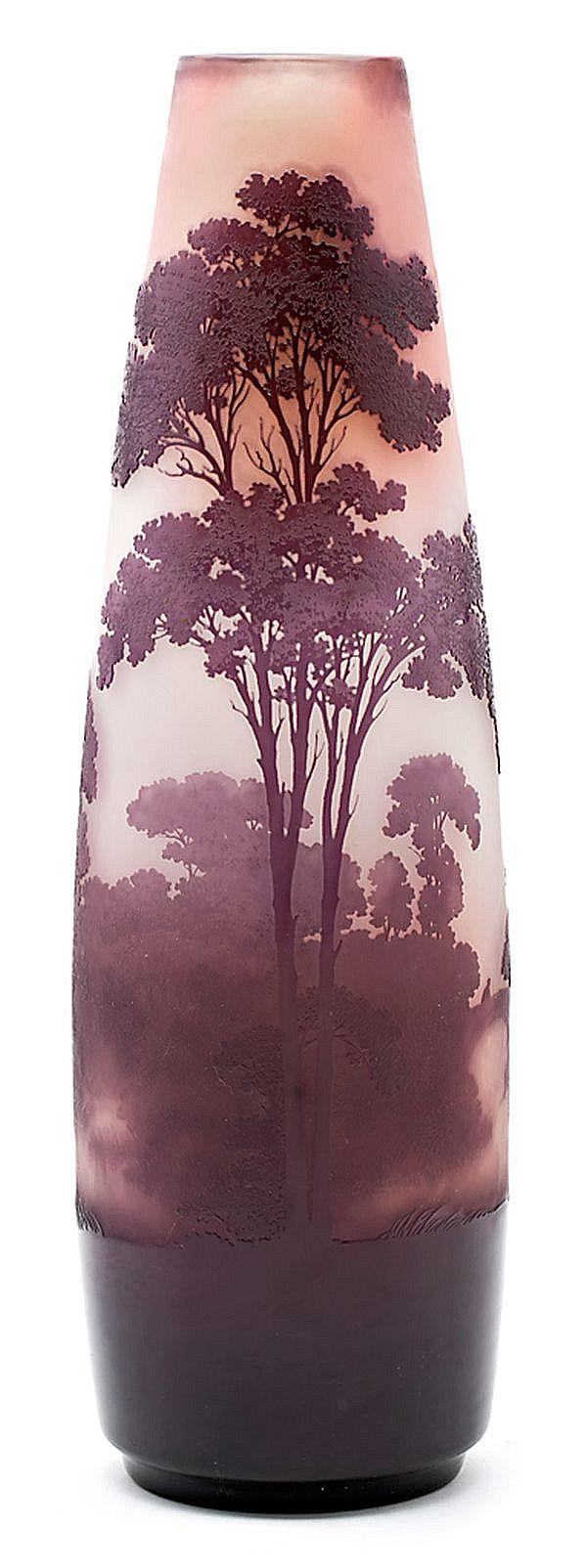 Émile Gallé Nancy 1846 - 1904 Vase with landscape - by Balclis