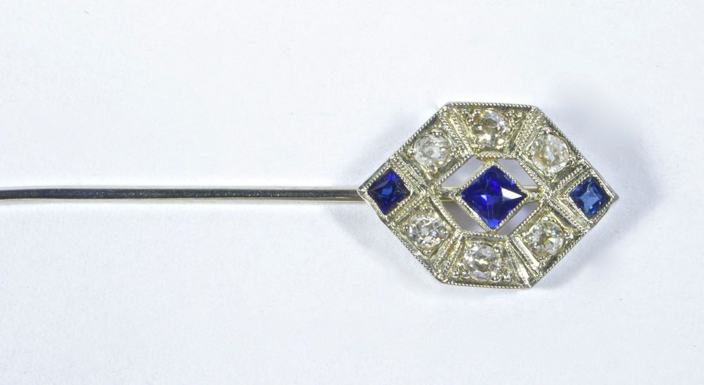 Art Deco Diamond And Sapphire Stick Pin Vintage 1920 S 18k Wg Platinum W Case Art Deco Diamond Fine Jewelry Art Deco