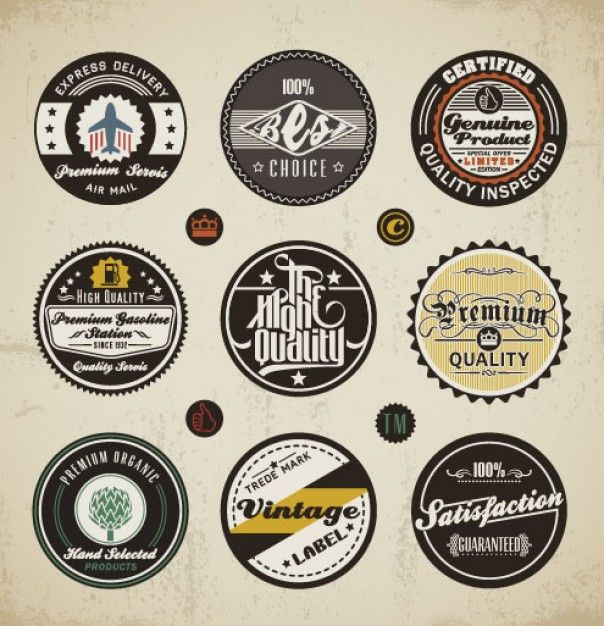 Logos Round Vintage Styling Vintage Typography Design Vintage Labels Vintage Typography