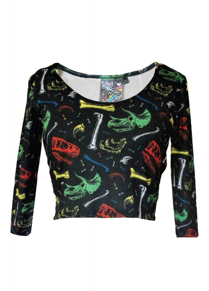 NewBreed Girl Dinosaur Bones 3/4 Sleeve Women's Crop Top Black in Clothes, Shoes & Accessories | eBay