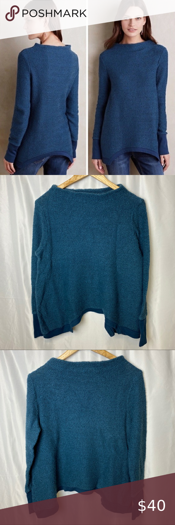 "Anthropologie Postmark Inari Knit Sweater Medium Postmark brand sold at Anthropologie Size Medium High neck blue sweater.  Measurements are approximate Sleeve 24"" Pit to pit 20.5"" Front length from shoulder 23.5""  #0131 Anthropologie Sweaters Cowl & Turtlenecks"