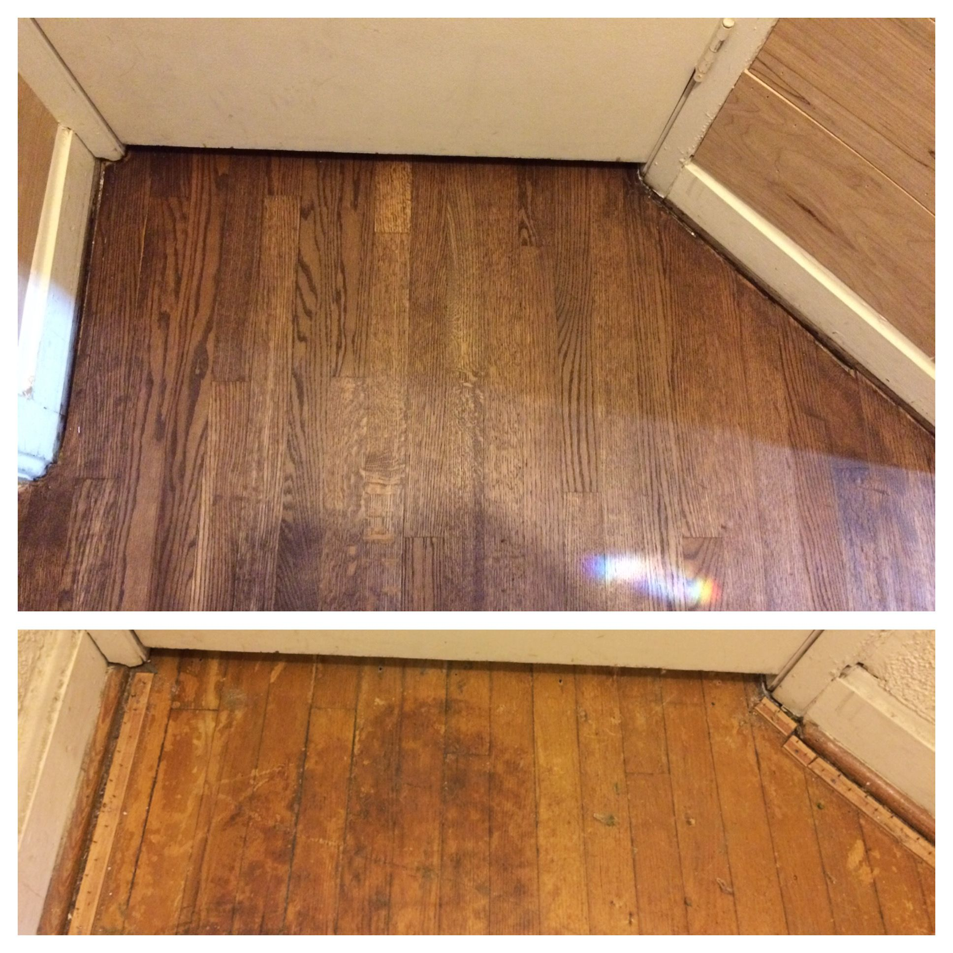 Red oak floor refinished before and after sanded out water stains and finished rubio