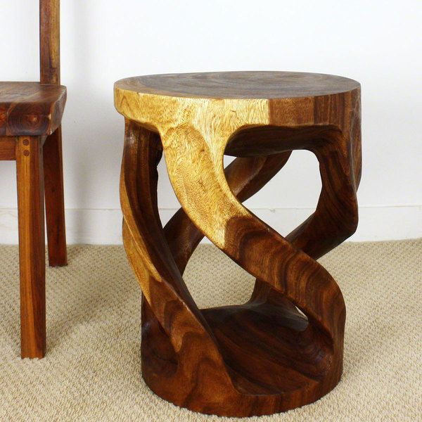 Twisted Vine Tapered Round Monkey Pod Wood Table Thailand