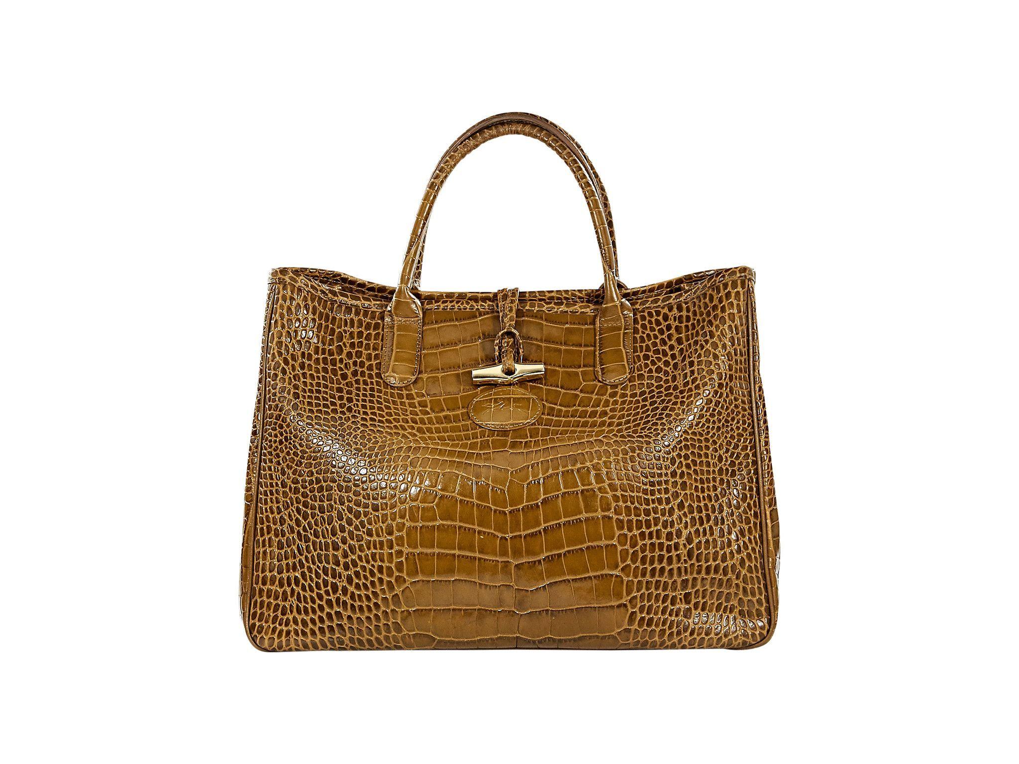 Olive Longchamp Crocodile Embossed Tote Bag