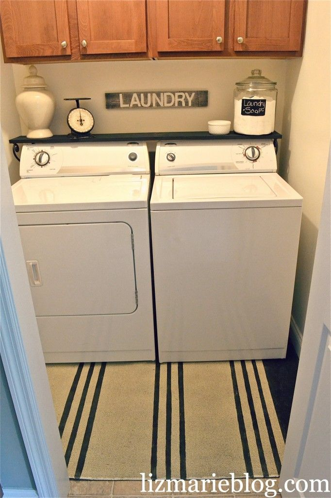 Laundry room makeover washer shelves and shelf ideas for Shelf above washer and dryer