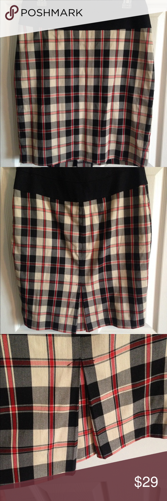 Anthropologie Eva Franco straight skirt, 8 Anthropologie Eva Franco straight skirt, size 8 ivory with black and red stripes. Lined, perfect condition. Side zipper Eva Franco Skirts Pencil