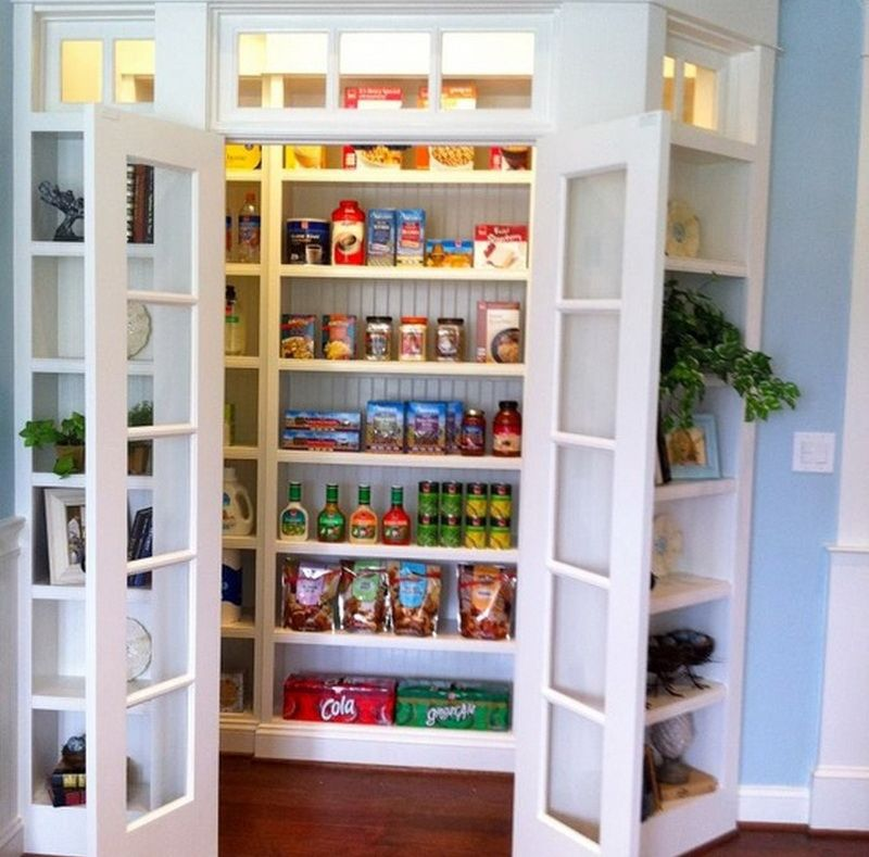 pantry storage ideas with blue wall small kitchen - Pantry Ideas For Small Kitchens
