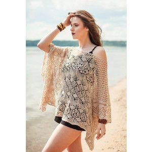 77cfa53a2 Gipsy Girl Boho Cape Beach Wrap Bohemian Chic Summer Poncho Handknitted  Summer Poncho Beige Co