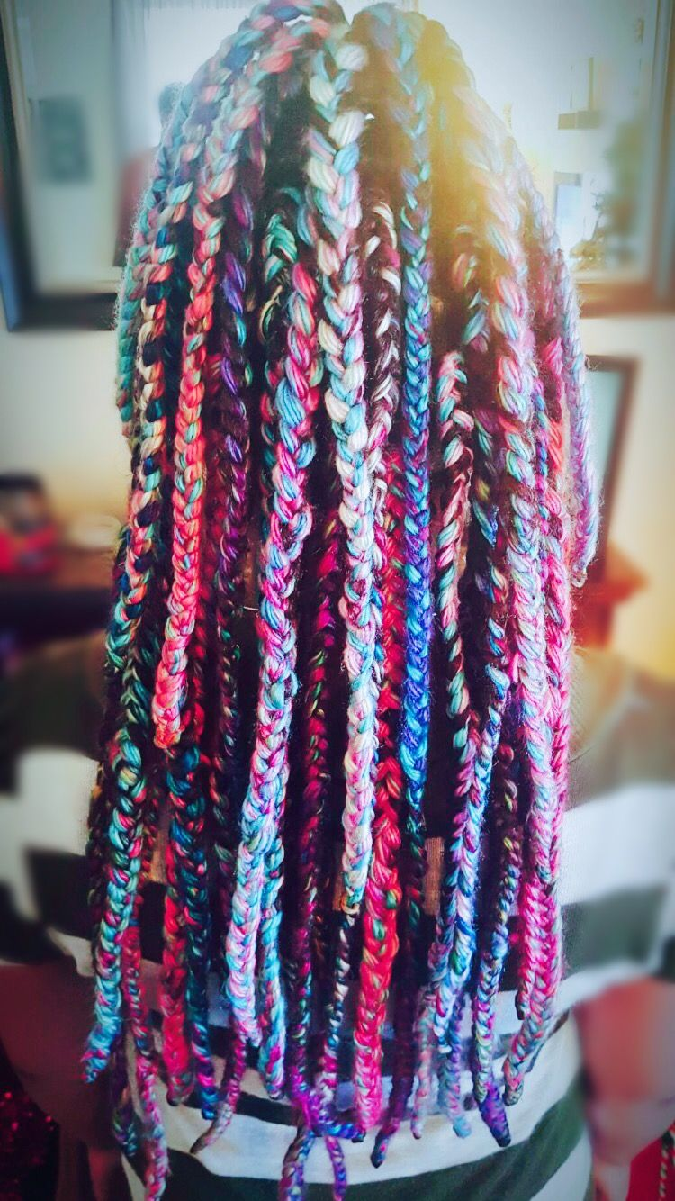Rainbow box braids #naturalhair #yarnbraids #boxbraids #neon