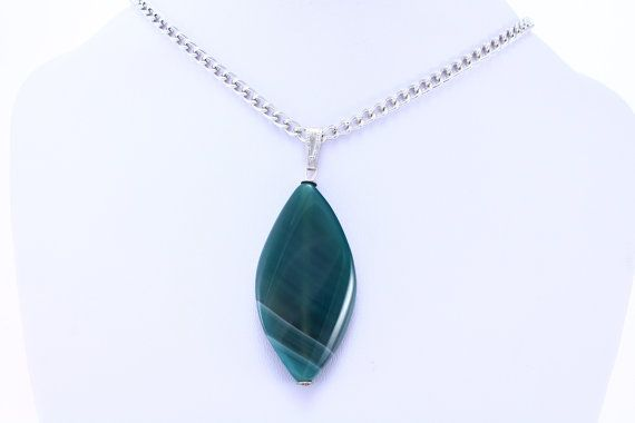 Agate Almond Necklace  Green Agate Necklace AK07 by StoneRealm, $15.00
