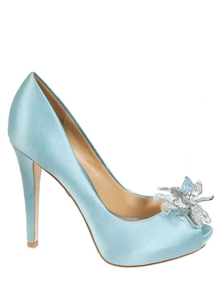 NIB Badgley Mischka CLEONE wedding bridal open toe pumps Nile Blue shoes 6,5 #BadgleyMishka #OpenToe