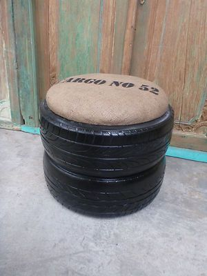 balinese recycled rubber tyre tube chair stool side coffee table