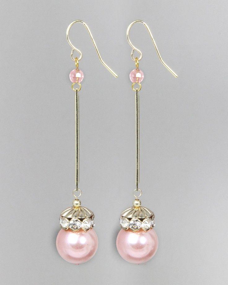 pink pearl earrings <3 <3