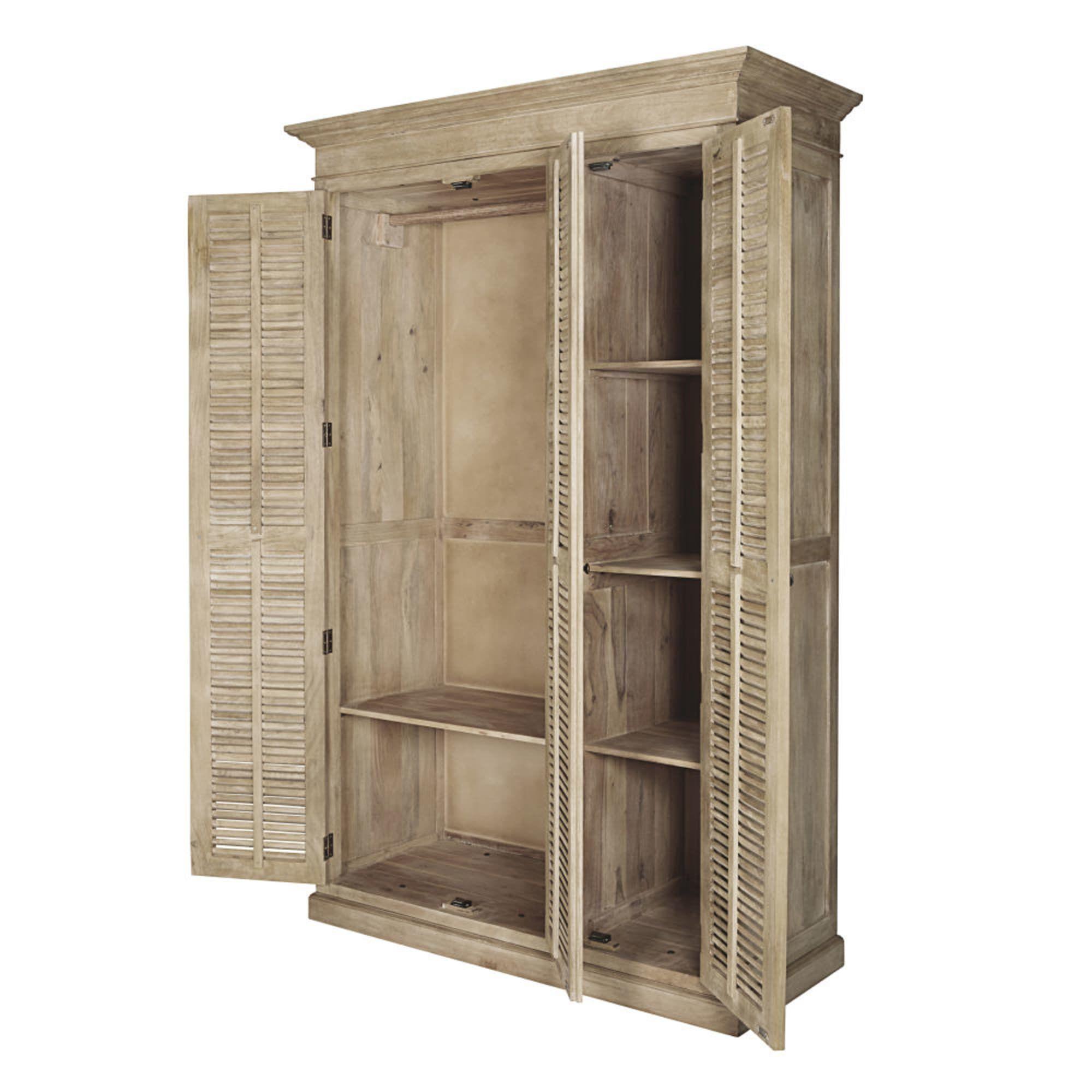 Mango Wood 3 Door Sideboard With Images Tall Cabinet Storage Wood Wardrobe Locker Storage
