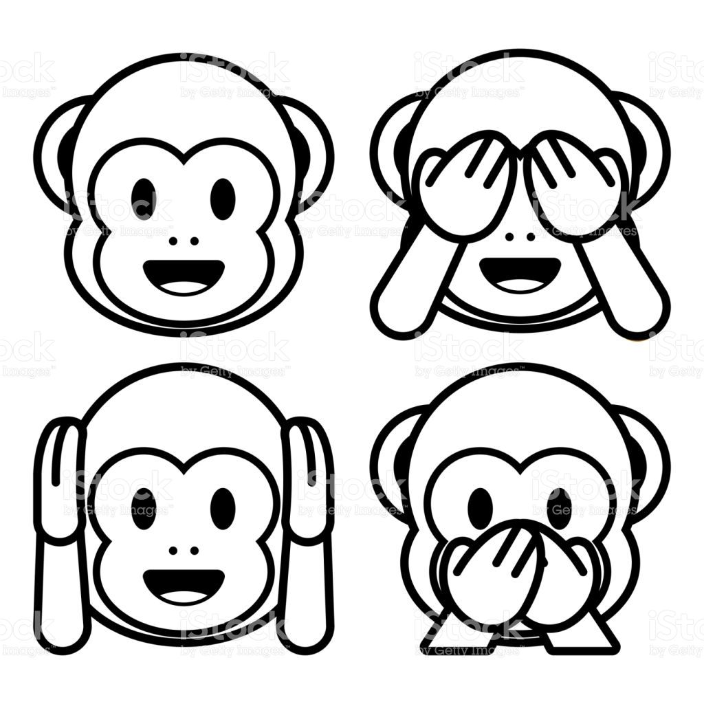 Vector Emoji Monkeys Set Isolated On White Background Ausmalbilder