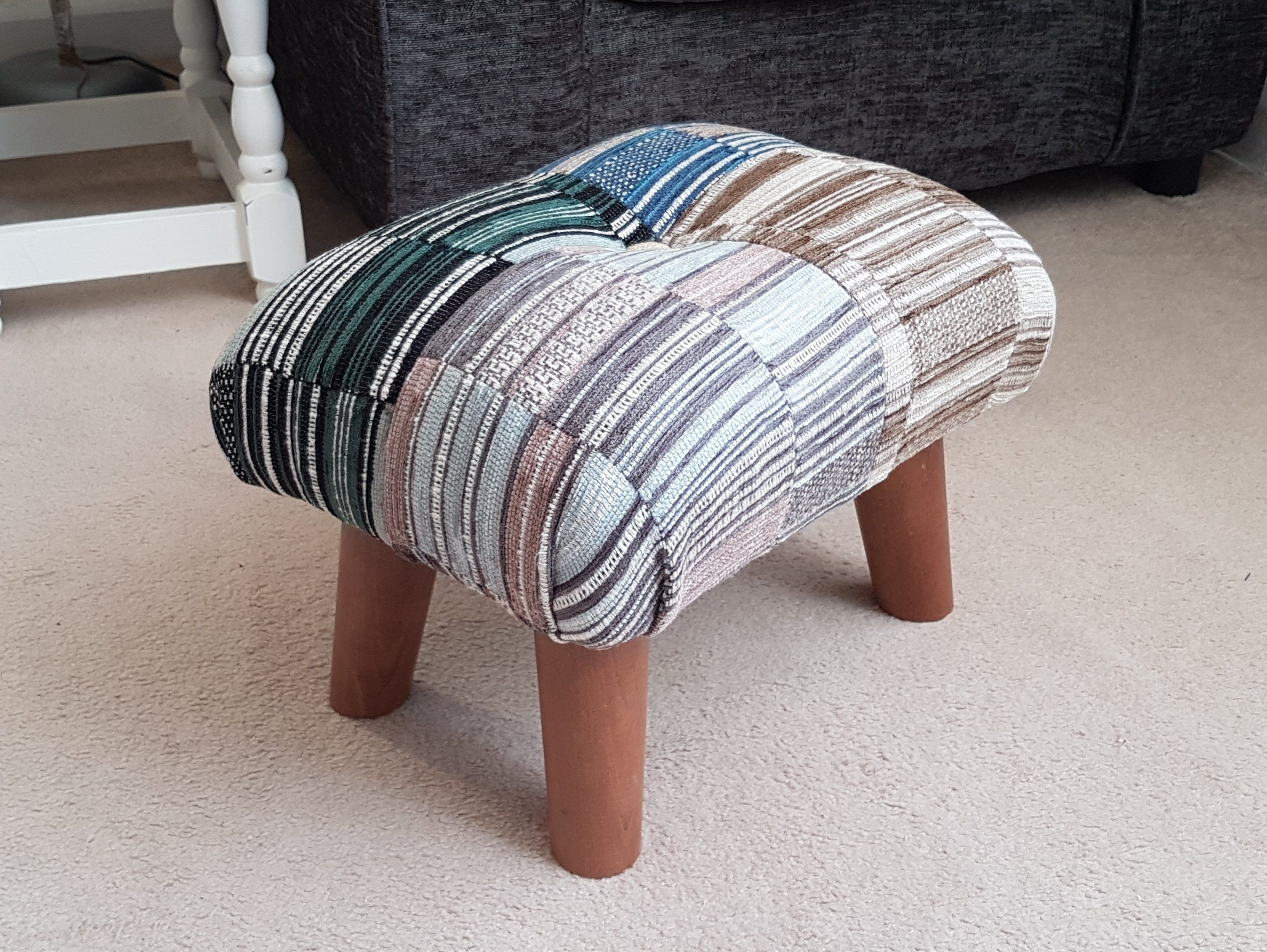 Patchwork Footstool Small Footstool Gift Idea Small Foot Stool Upholstered Foot Stool Handmade Footstool Buttoned Footstool