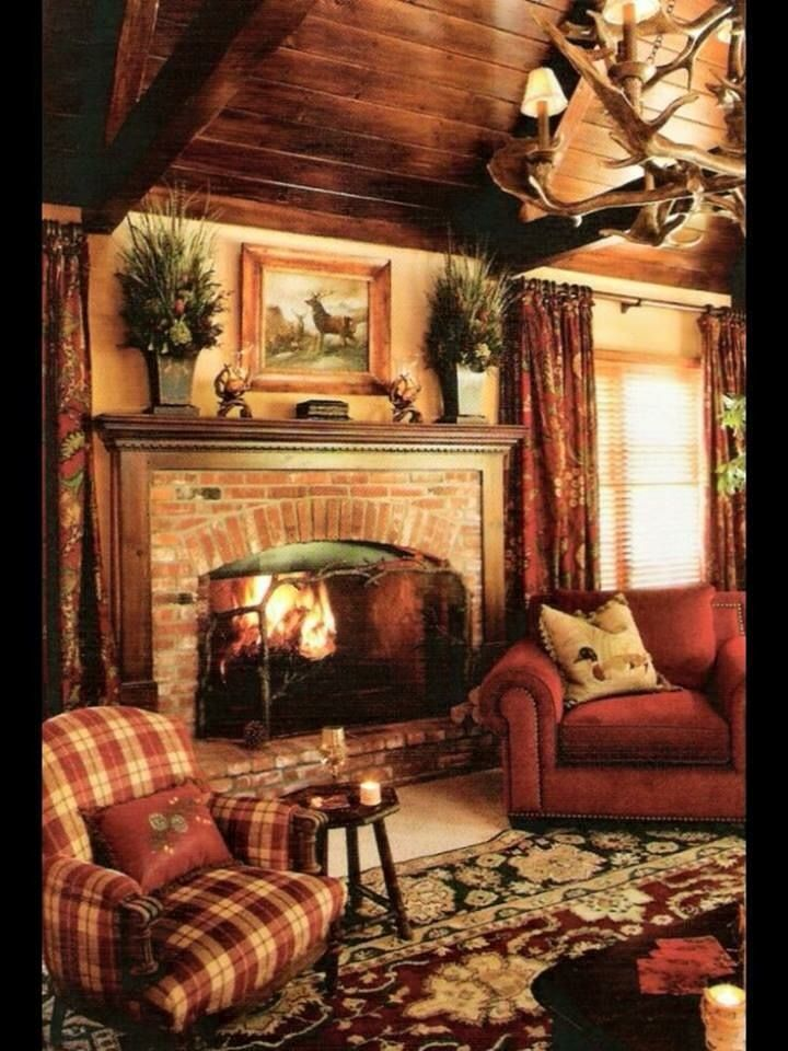 Warm Wood Paneled Country Cottage Cabin. Plaid Living RoomRustic ... Part 37