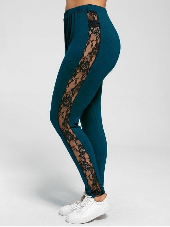 efdcfb02a8ee8 Plus Size Lace Insert Sheer Leggings - PEACOCK BLUE 3XL - Sale! Up to 75%  OFF! Shop at Stylizio for women's and men's designer handbags, lux…