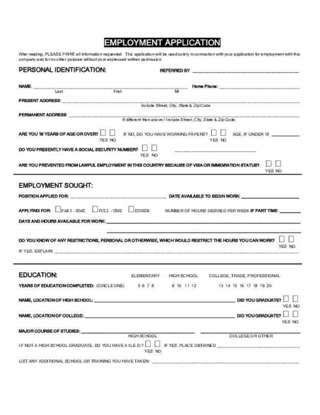 Blank Job Application Form Samples Download Free Forms