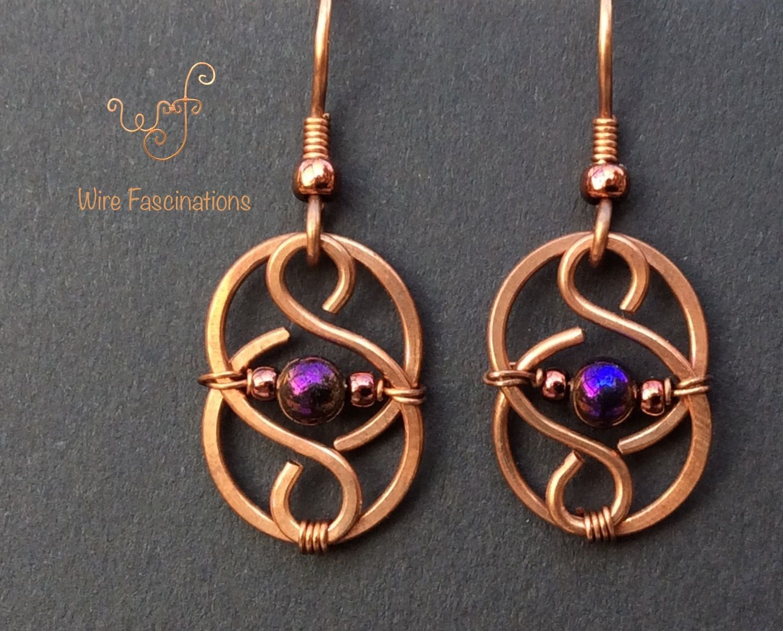 Love Knot Earrings with Purple Bead  Wire Wrapped Earrings