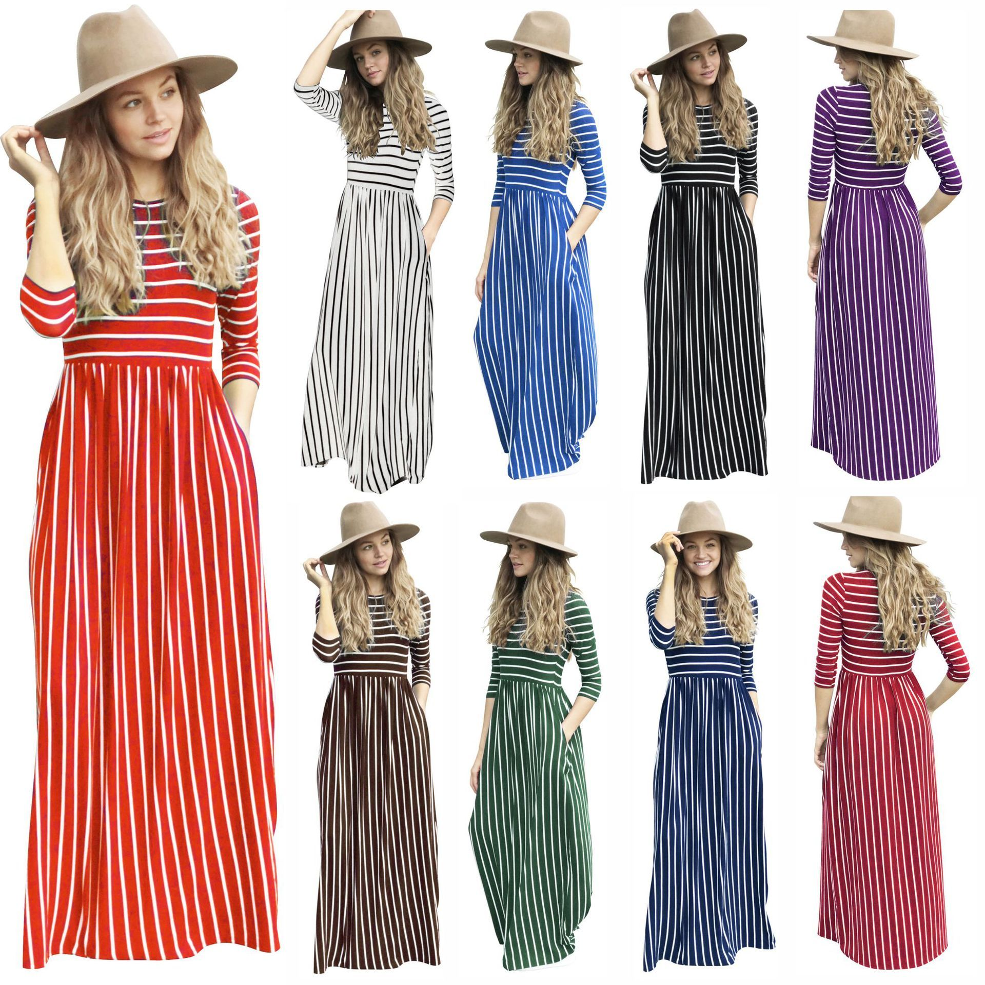 Dresses for Women Stripe Maxi Dress Casual Short Sleeve Cocktail Party Tunic Sundress with Pockets