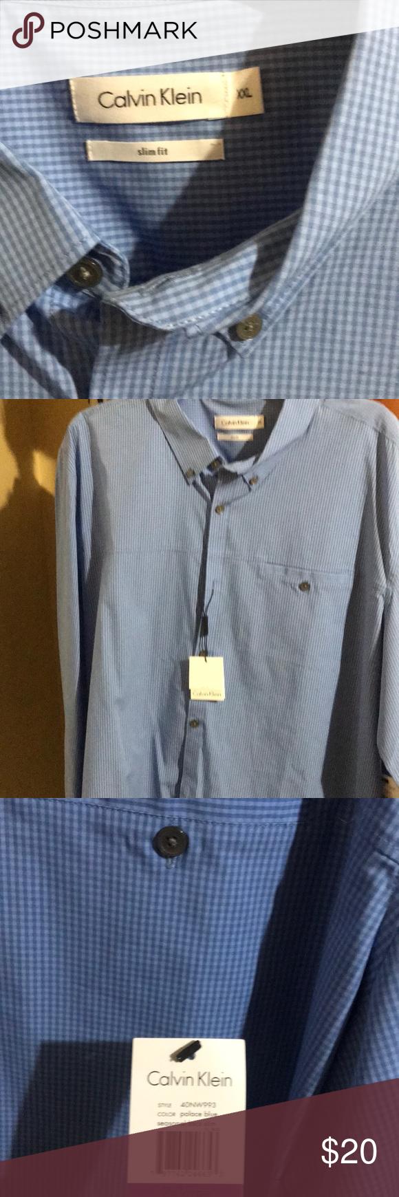 Calvin Klein Blue Dress Shirt Slim Fit Nwt Calving Klein Long Sleeve Light Blue Dress Shirt Wi Calvin Klein Blue Dress Blue Shirt Dress Light Blue Dress Shirt