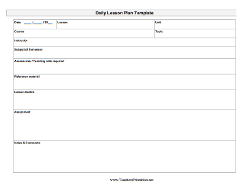 Daily Lesson PlanTeacher Template Teachers Printable  Efl