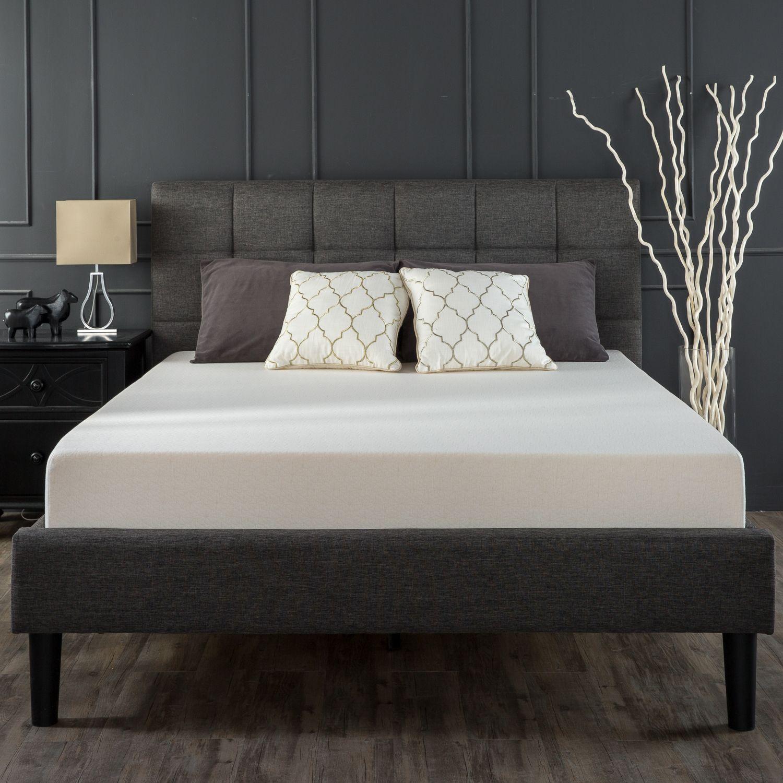 Lottie Upholstered Platform Bed Frame Graues Bett Plattform