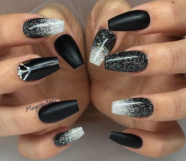 New Years Eve Nails Black Nail Designs Winter Acrylic